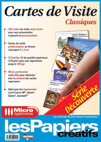 Papier Micro Application Cartes De Visite Classiques