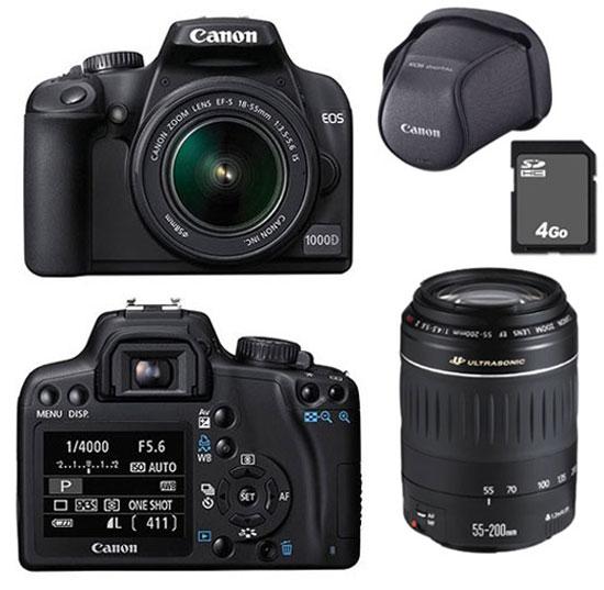 order details for low price sale Canon EOS 1000D + 2 Obj. Canon non stabilisés : EF-S 18 - 55 mm II + EF 55  - 200 mm + Housse + Carte SDHC 4 Go