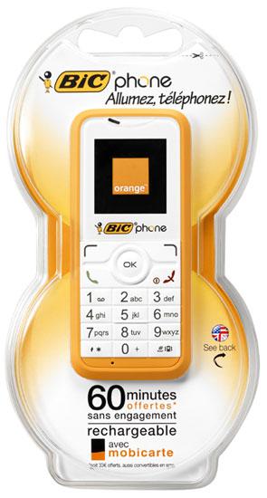 téléphone à carte prépayée BIC Phone Orange   Carte prépayée Orange   Téléphone portable